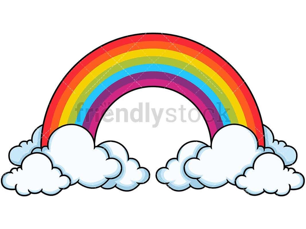 tall rainbow in the clouds cartoon vector clipart friendlystock