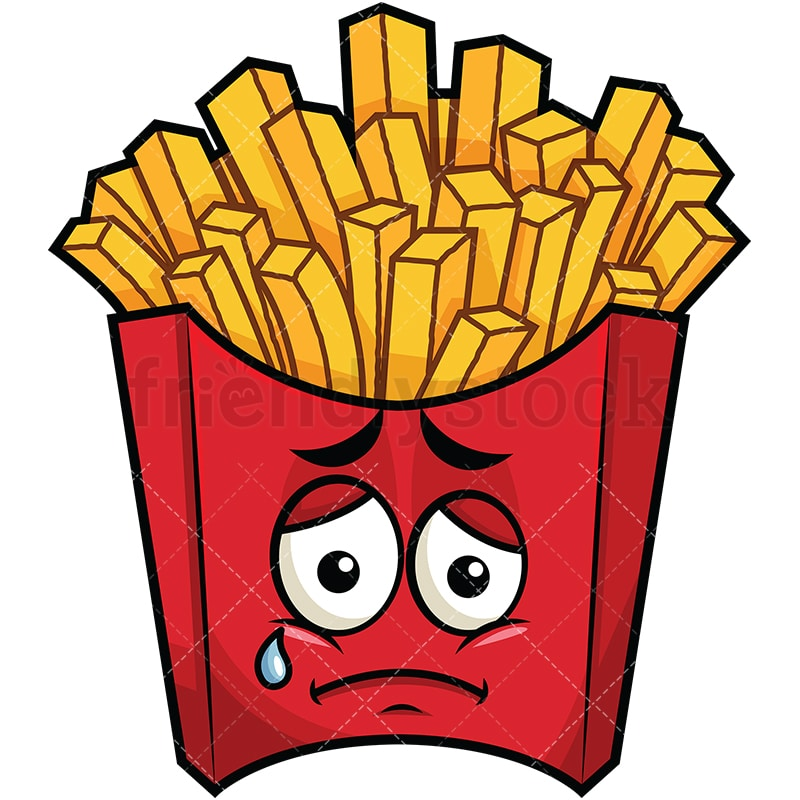 teared up sad french fries emoji cartoon vector clipart friendlystock rh friendlystock com french fries clipart black and white french fries clipart black and white