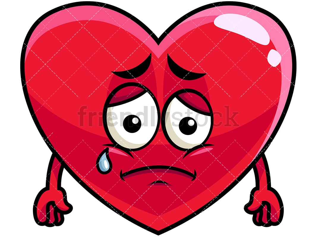 teared up sad heart emoji cartoon vector clipart friendlystock