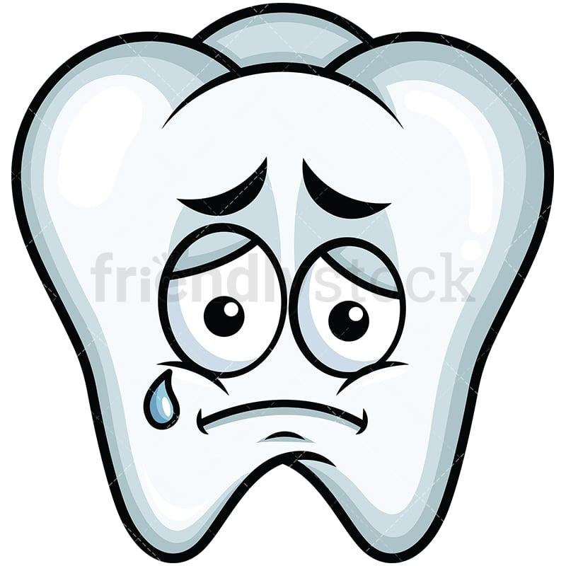 Teared Up Sad Tooth Emoji Cartoon Vector Clipart Friendlystock