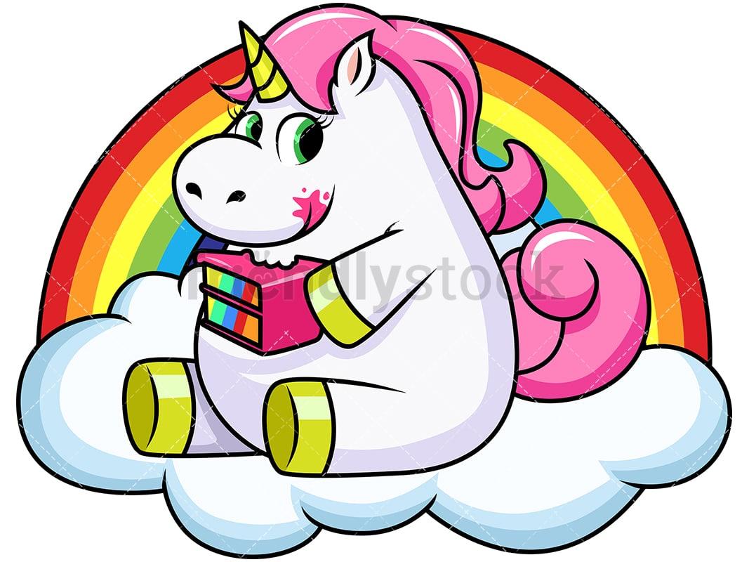 unicorn eating cake cartoon vector clipart friendlystock rh friendlystock com cake clip art images cake clip art free images