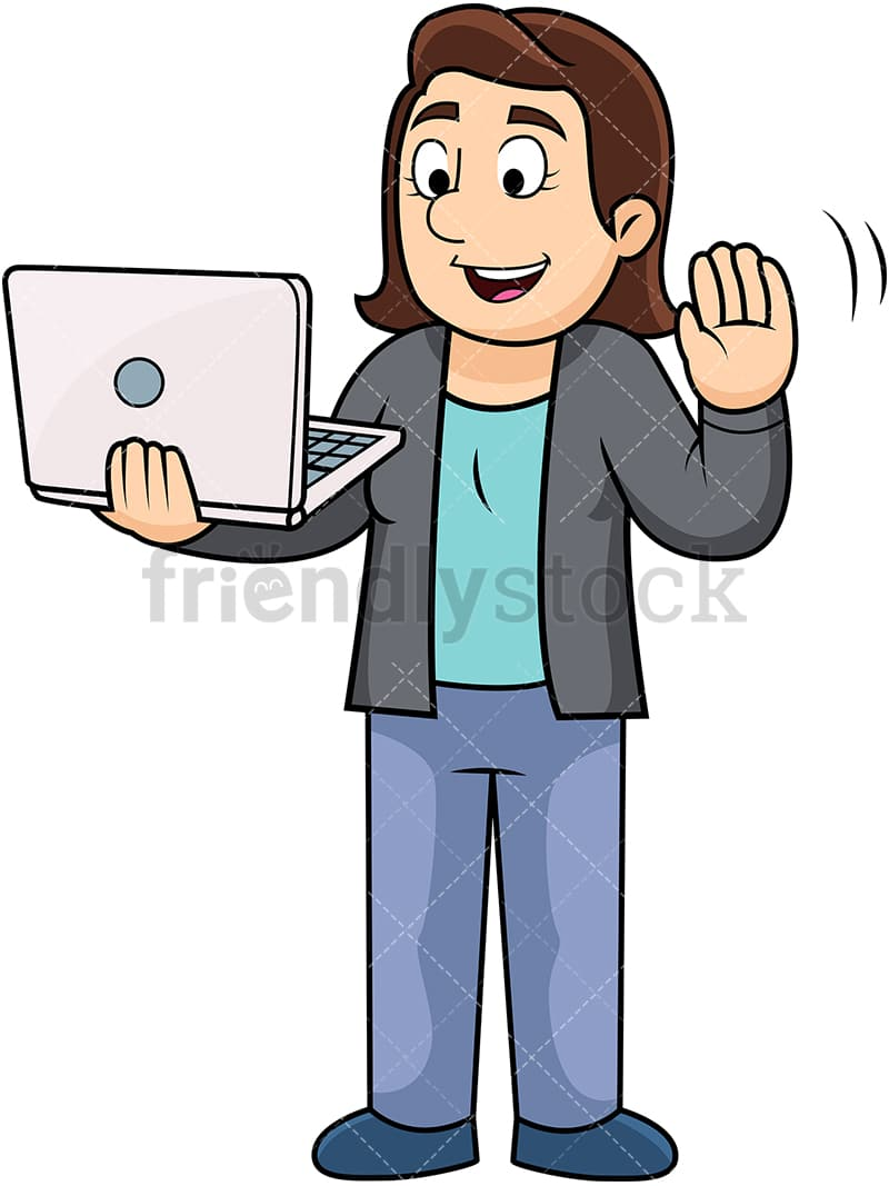 Woman Holding Laptop While Video Chatting