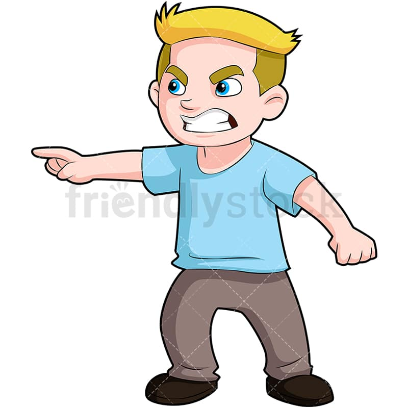 Angry Boy Pointing Finger And Scowling Cartoon Vector Clipart Friendlystock