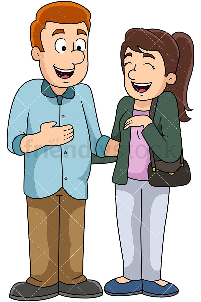 Cartoon Man And Woman Talking Vector Clipart Friendlystock