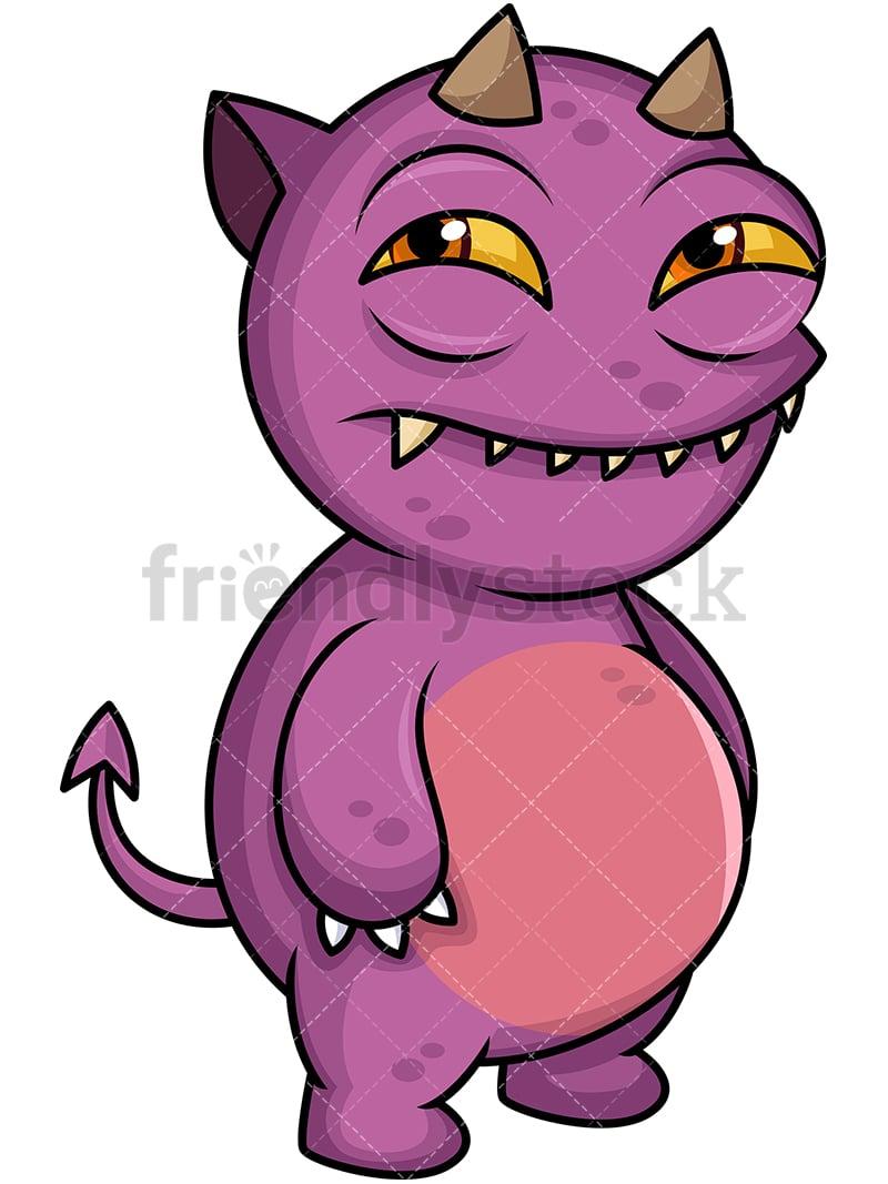 evil monster cartoon vector clipart friendlystock