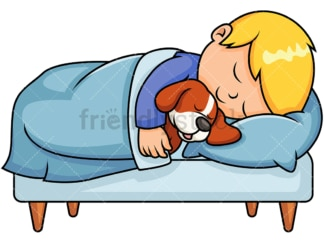Kid sleeping together with dog. PNG - JPG and vector EPS file formats (infinitely scalable). Image isolated on transparent background.