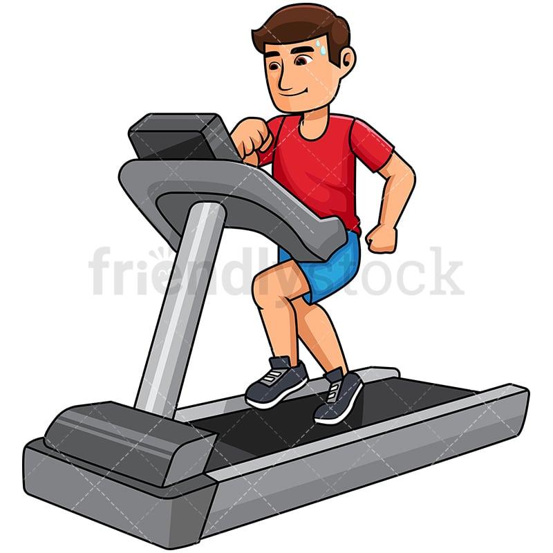 man exercising on a treadmill cartoon vector clipart friendlystock