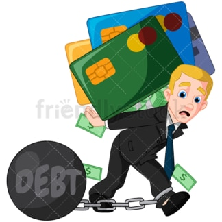 Businessman carrying credit card debt. PNG - JPG and vector EPS (infinitely scalable). Image isolated on transparent background.