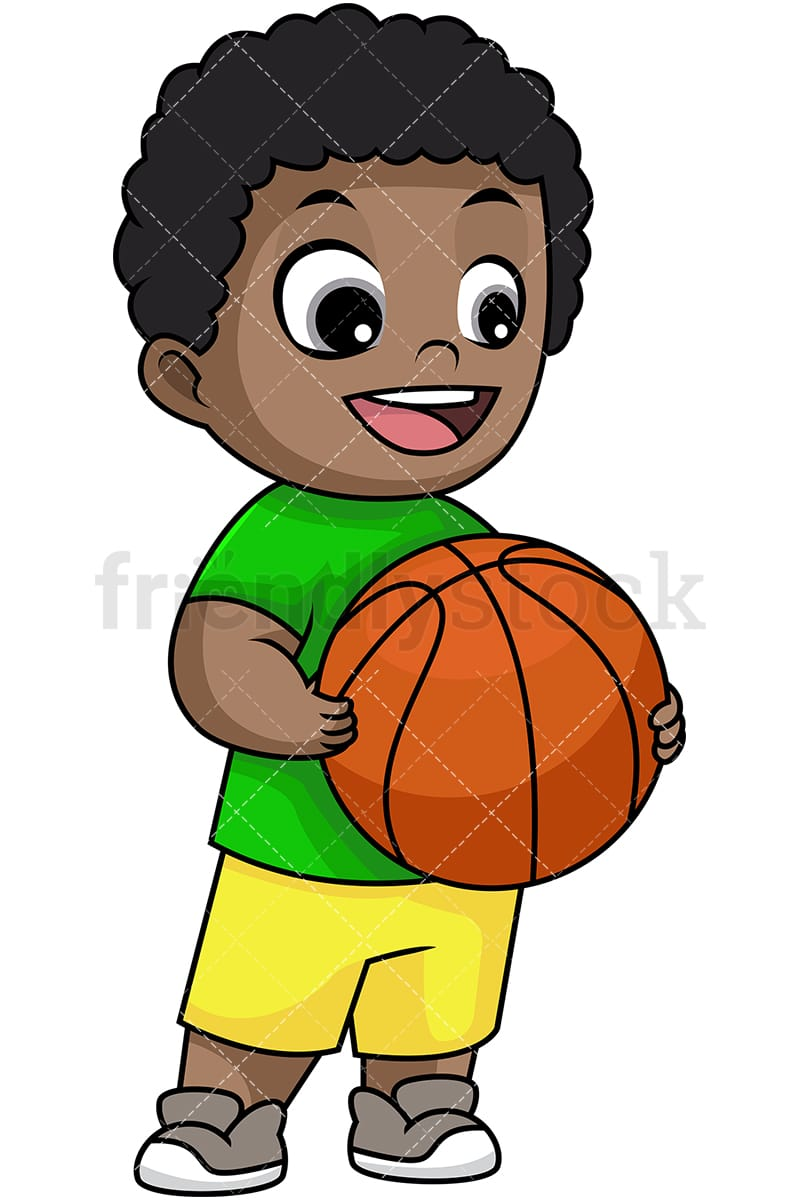 happy black boy holding basketball cartoon vector clipart
