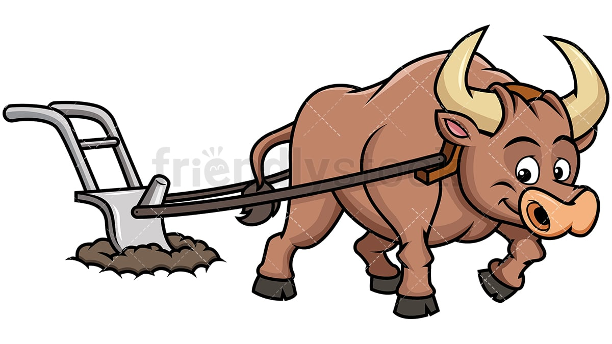 happy ox plowing field cartoon vector clipart friendlystock