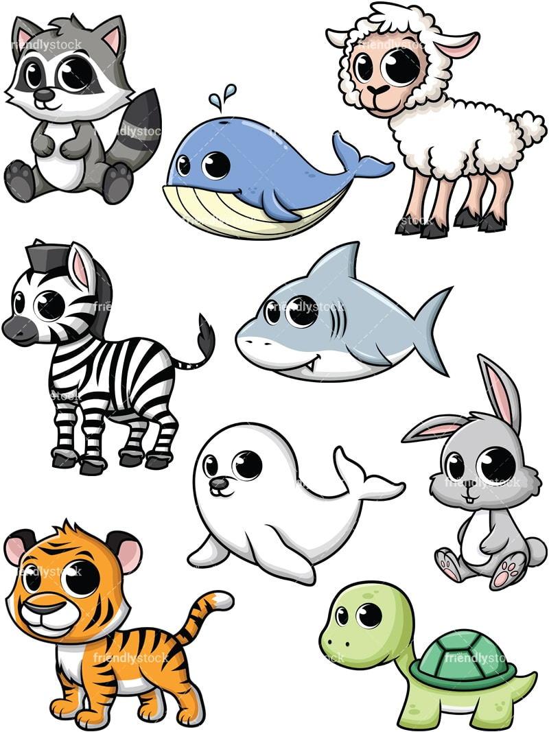 Cartoon Baby Animals Vector Clipart Friendlystock