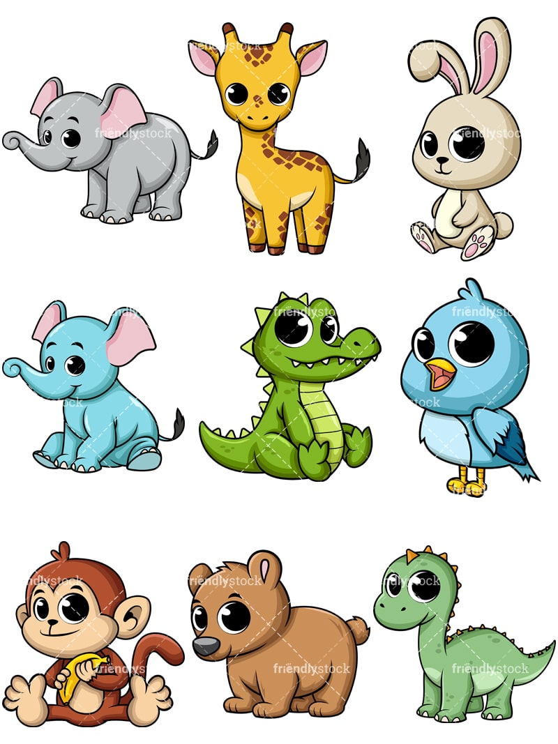 Cartoon Baby Animals Vectors Friendlystock