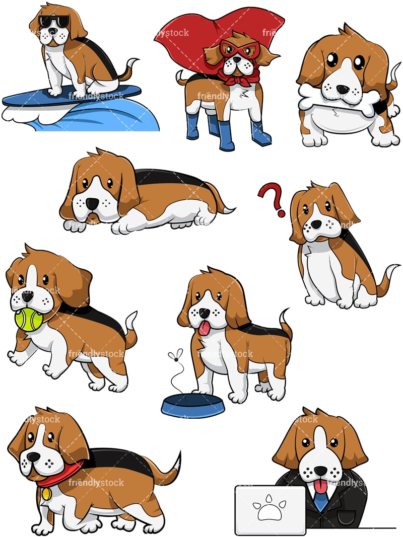 Christmas Beagle Clipart.Beagle Dog Collection 2