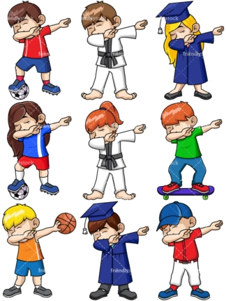 Dabbing collection 13. PNG - JPG and vector EPS file formats (infinitely scalable). Images isolated on transparent background.