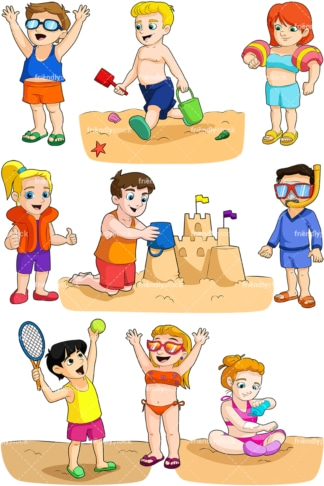 Kids at the beach. PNG - JPG and vector EPS file formats (infinitely scalable). Image isolated on transparent background.