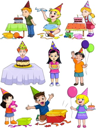 Kids celebrating birthdays. PNG - JPG and vector EPS file formats (infinitely scalable). Image isolated on transparent background.