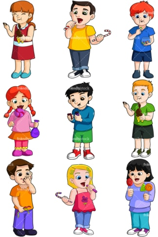 Kids eating candy. PNG - JPG and vector EPS file formats (infinitely scalable). Image isolated on transparent background.
