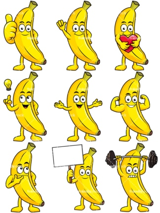 Mascot banana cartoon character. PNG - JPG and vector EPS file formats (infinitely scalable). Image isolated on transparent background.