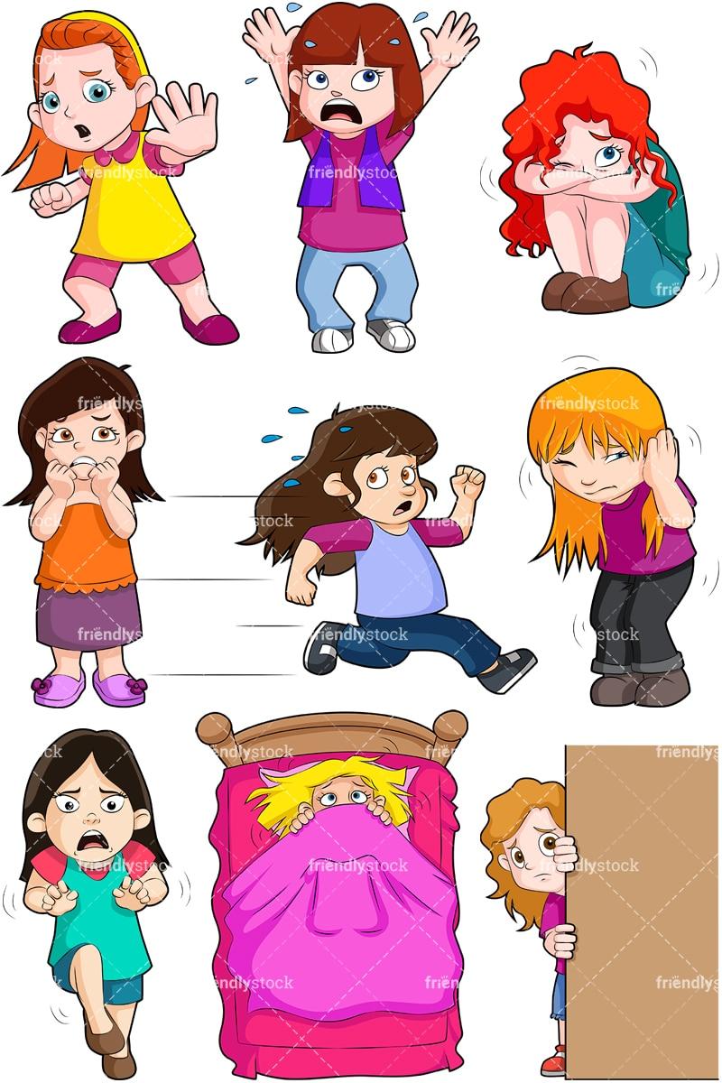 scared little girls cartoon vector clipart friendlystock scared little girls cartoon vector clipart friendlystock