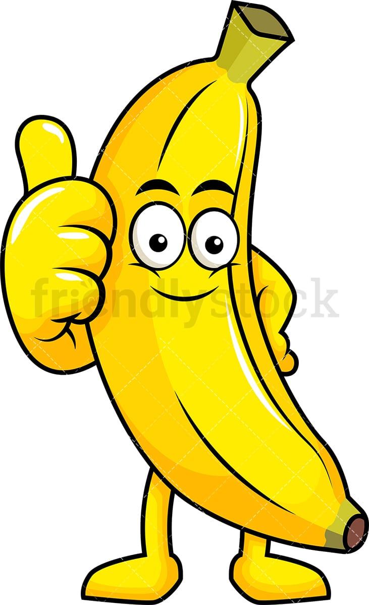 banana mascot thumbs up cartoon vector clipart friendlystock