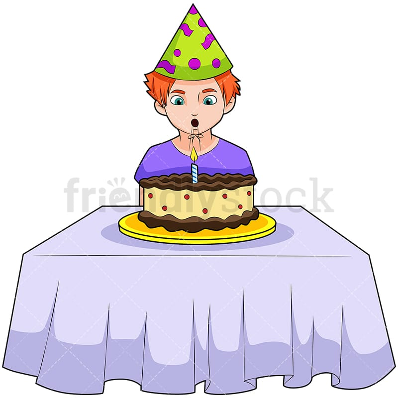 A Boy Wearing Birthday Hat Blowing Out Candle On The Cake Vector Cartoon Clipart