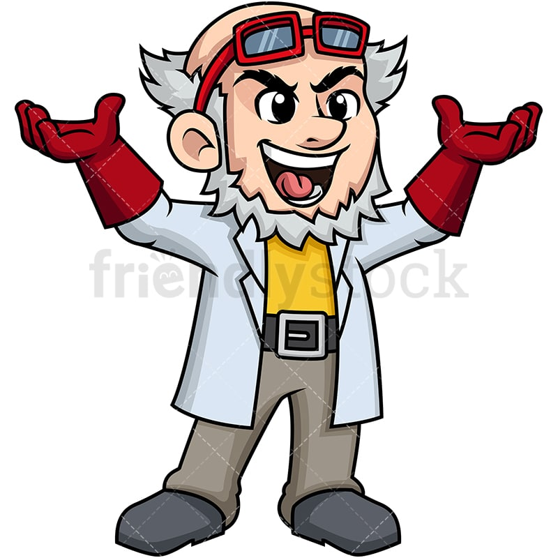 cheering mad scientist cartoon vector clipart friendlystock cheering mad scientist cartoon vector clipart friendlystock
