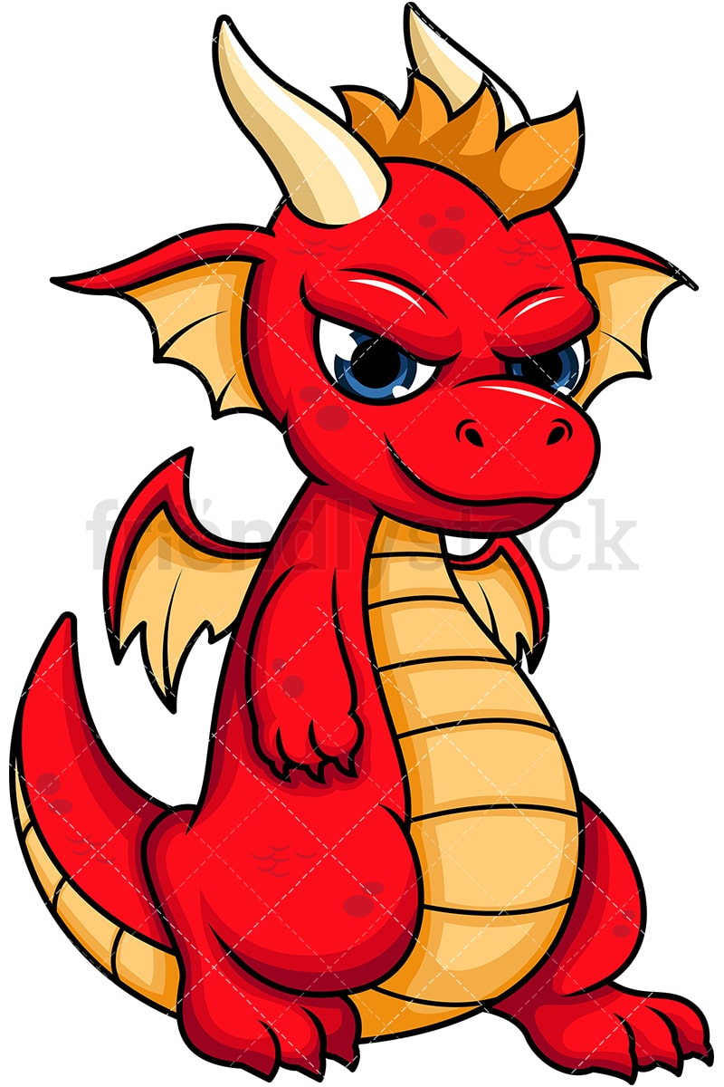 Cool Red Dragon Vector Cartoon Clipart