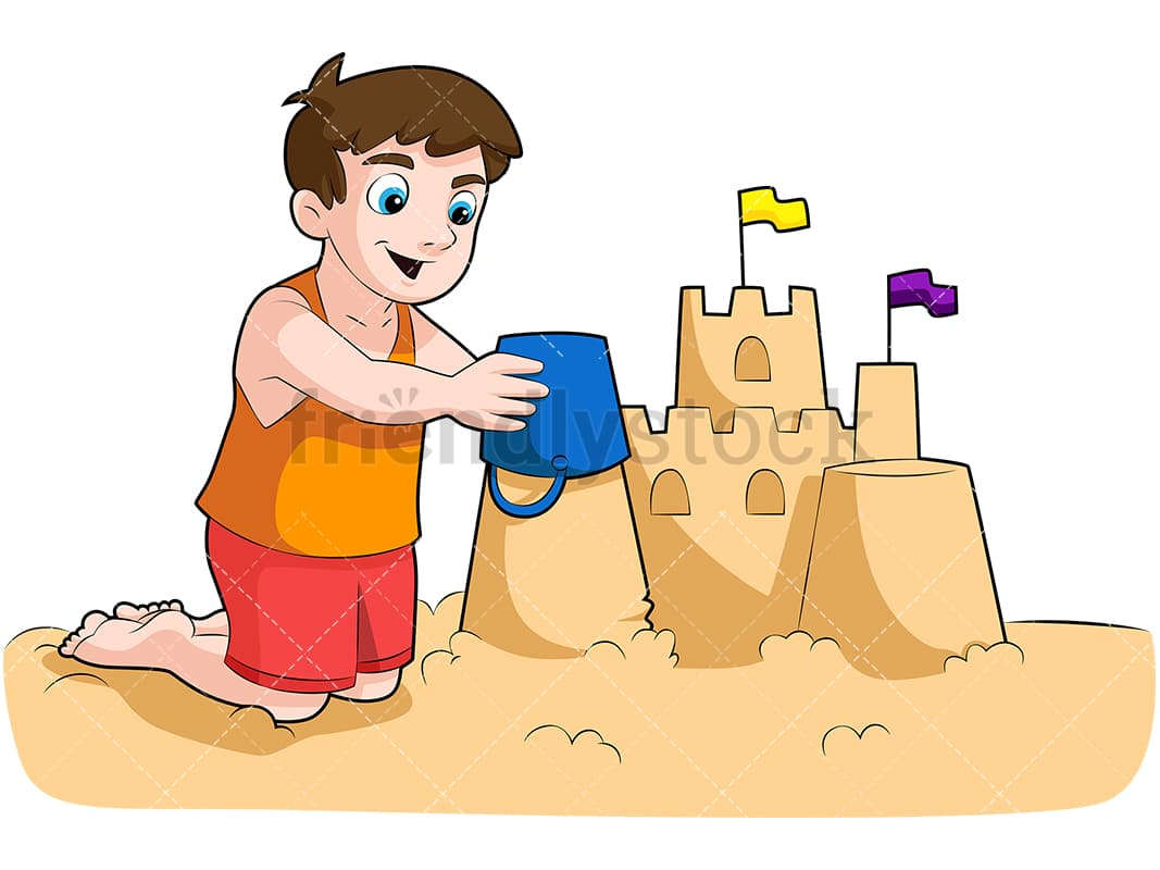 little boy building sandcastle cartoon vector clipart friendlystock rh friendlystock com clipart sandcastle outline make a sandcastle clipart