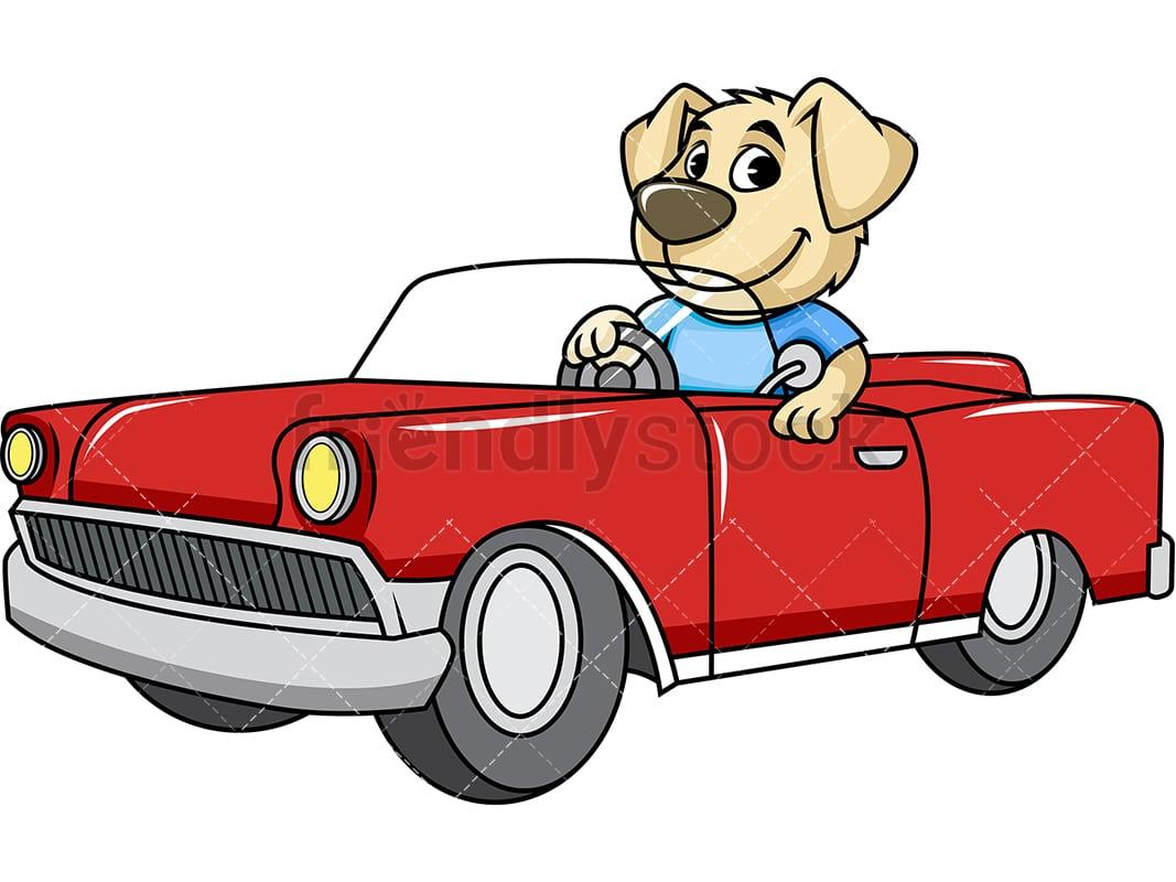 Mascot Dog Driving Car Cartoon Vector Clipart Friendlystock