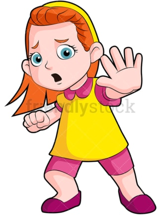 Scared little girl. PNG - JPG and vector EPS (infinitely scalable). Image isolated on transparent background.