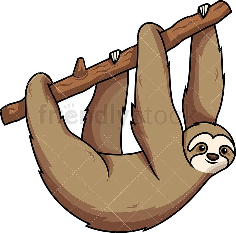 sloth hanging from tree branch cartoon vector clipart friendlystock rh friendlystock com sloth clip art black and white sloth clipart cute