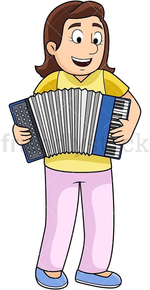 Young Woman Playing Accordion