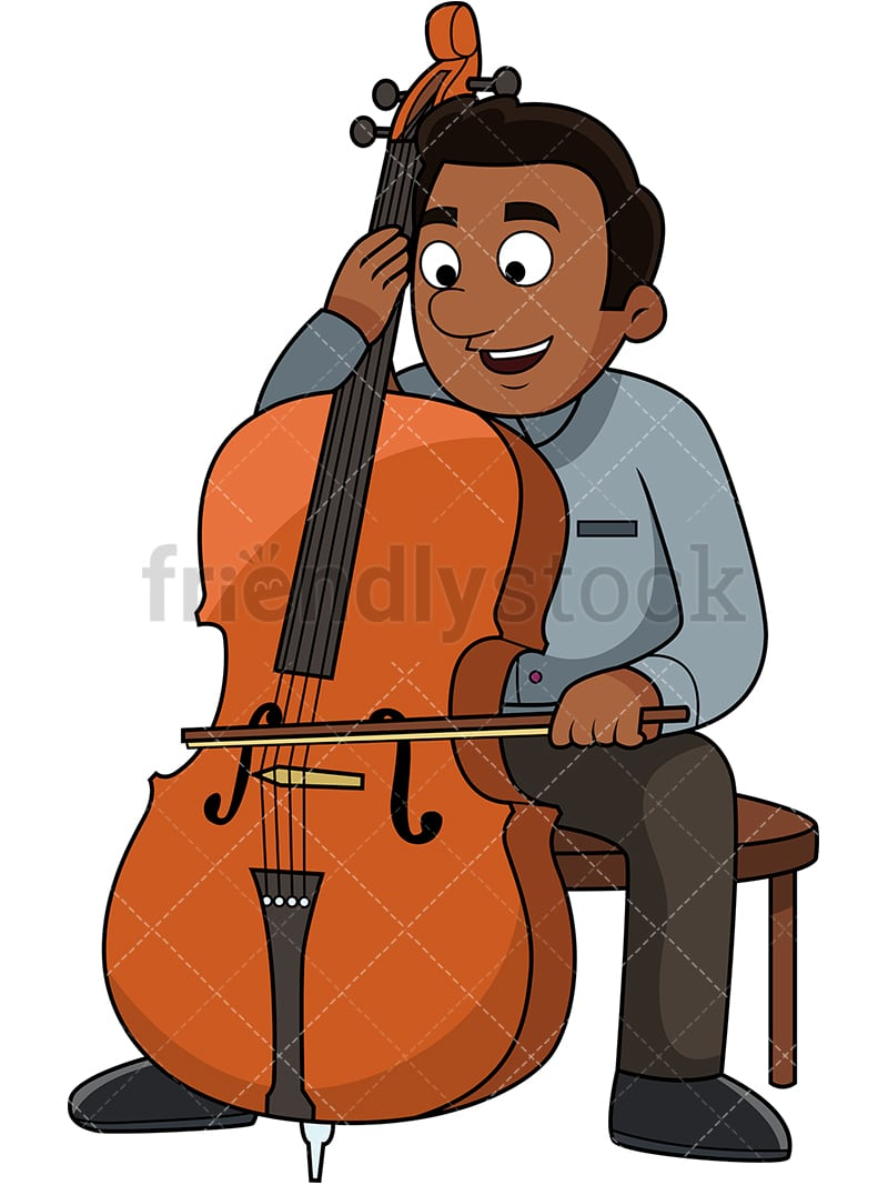 Black Man Playing The Cello
