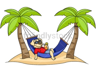 Dog cartoon character relaxing on hammock. PNG - JPG and vector EPS (infinitely scalable). Image isolated on transparent background.