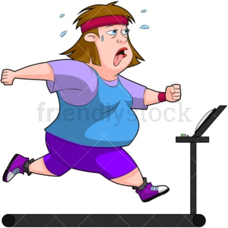 Chubby woman working out on treadmill. PNG - JPG and vector EPS (infinitely scalable). Image isolated on transparent background.