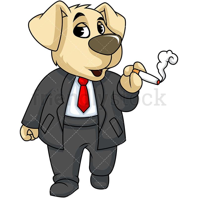 Mascot Dog Smoking Cartoon Vector Clipart Friendlystock