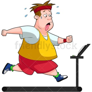 Fat man working out on treadmill. PNG - JPG and vector EPS (infinitely scalable). Image isolated on transparent background.