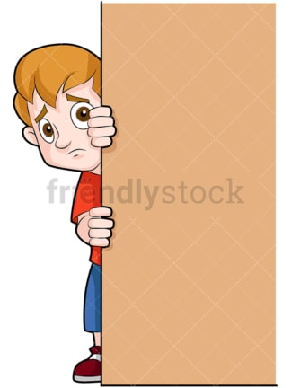 Scared little child behind door. PNG - JPG and vector EPS (infinitely scalable). Image isolated on transparent background.