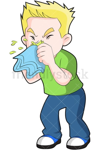 Ill little kid blowing nose. PNG - JPG and vector EPS (infinitely scalable). Image isolated on transparent background.