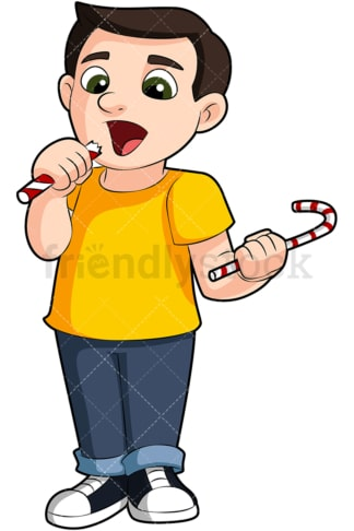 Young boy eating candy. PNG - JPG and vector EPS (infinitely scalable). Image isolated on transparent background.