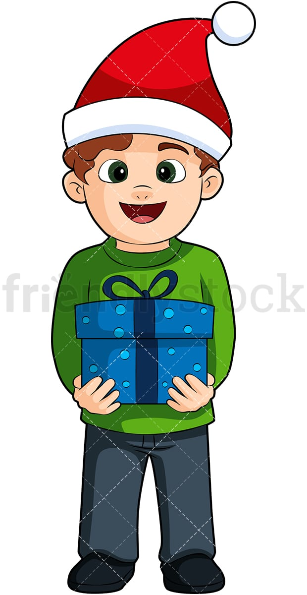 Boys Christmas Present.A Little Boy Wearing A Christmas Hat And Holding A Present