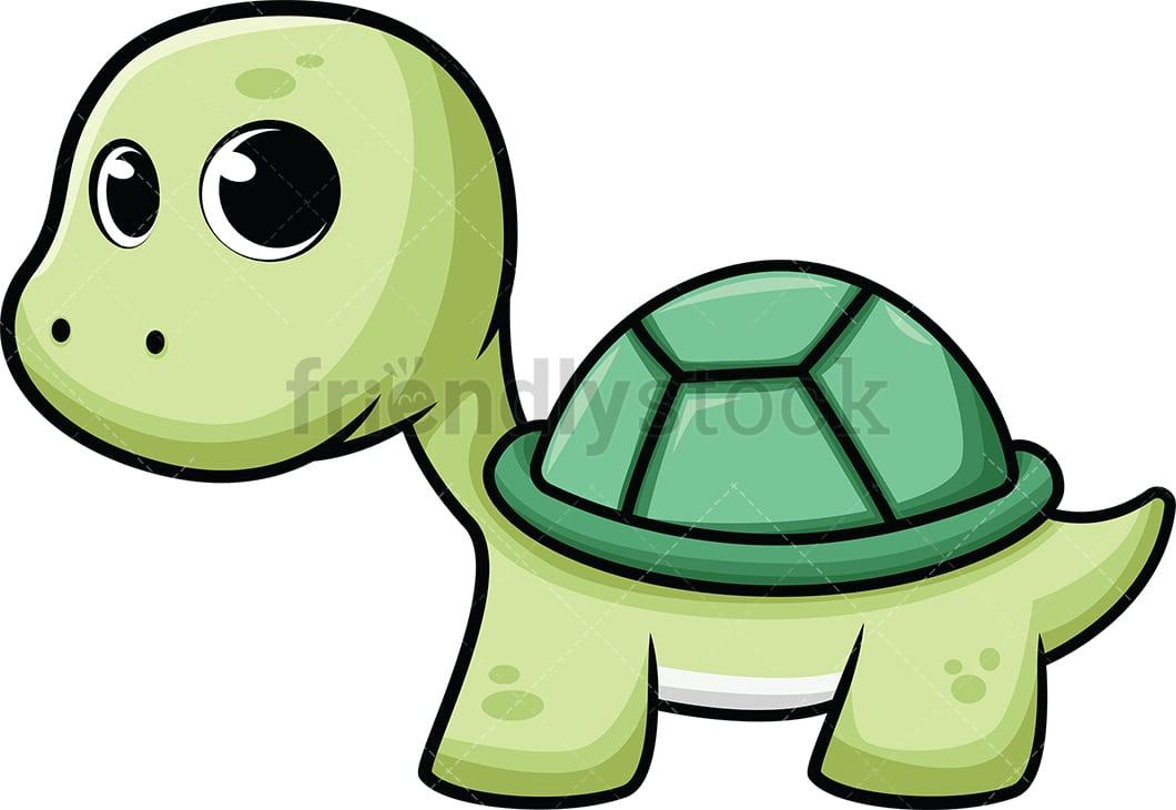 Cute Baby Sea Turtle Cartoon Vector Clipart Friendlystock