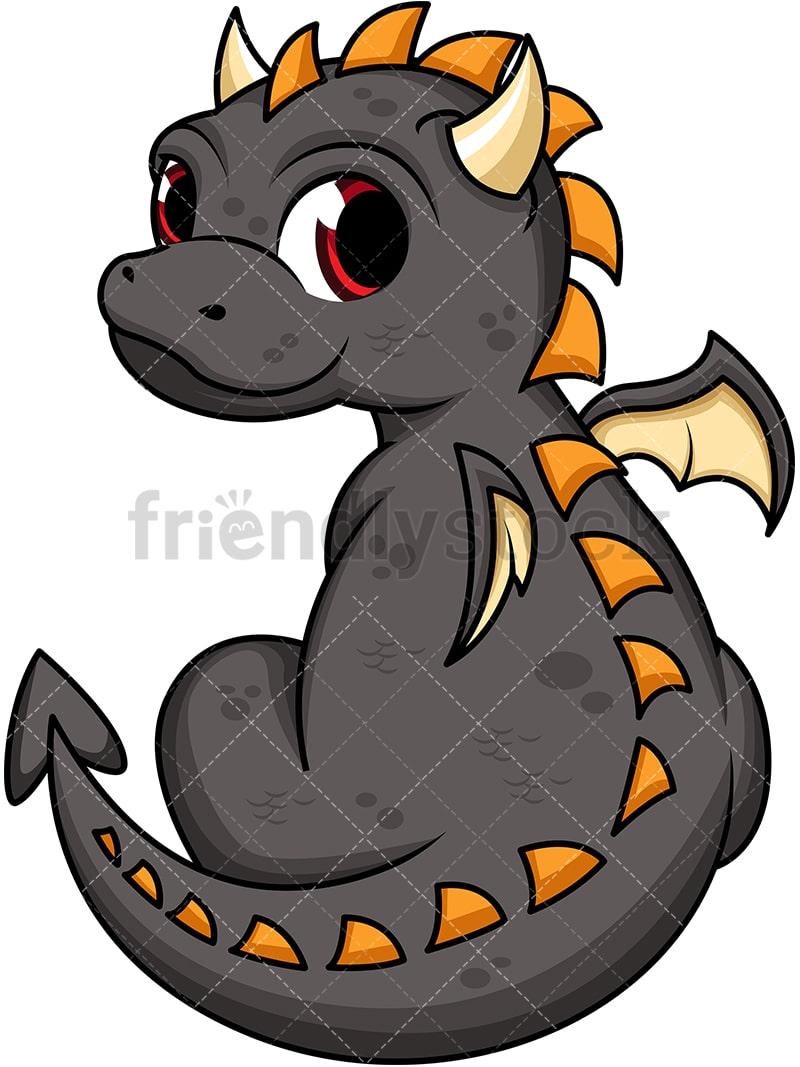 Cute Black Dragon Cartoon Vector Clipart Friendlystock