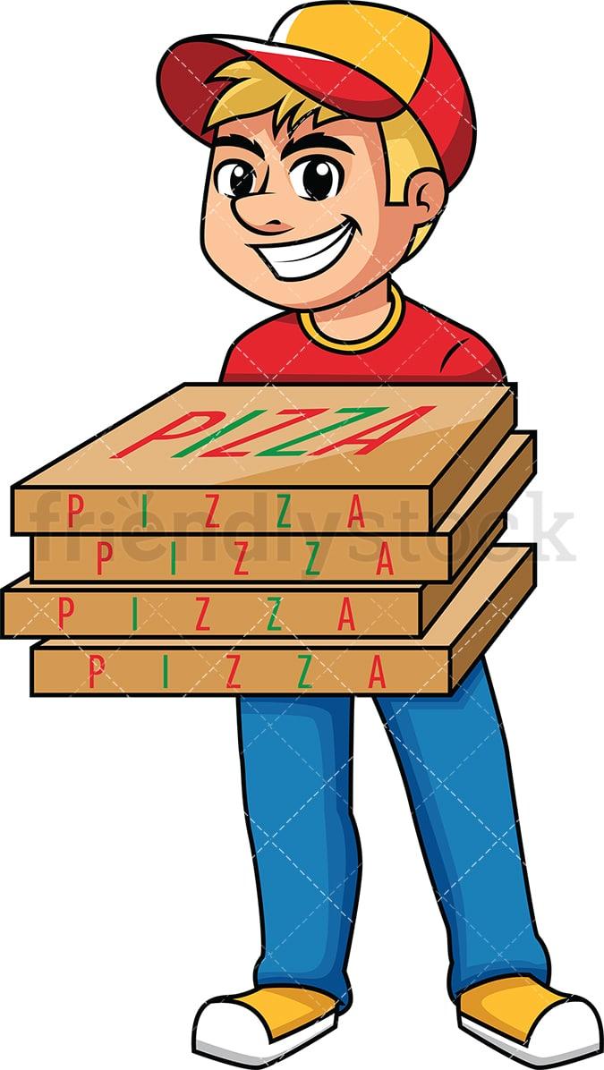 delivery guy holding pizza boxes cartoon vector clipart friendlystock rh friendlystock com cardboard boxes clipart boxes clipart black and white