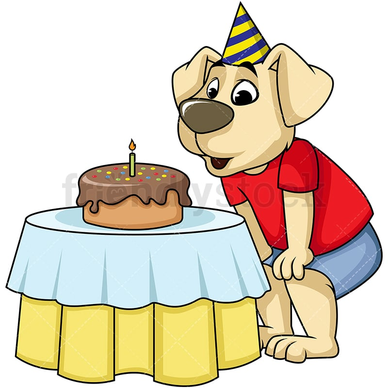 Dog Mascot Character Blowing The Candles On Birthday Cake Vector Cartoon Clipart
