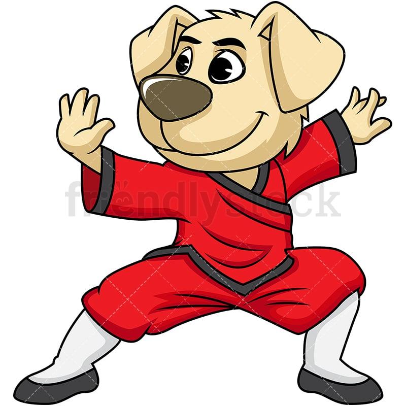 Dog Mascot Character Doing Kung Fu