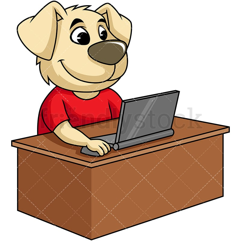 Remarkable Dog Mascot Character Working On A Laptop Download Free Architecture Designs Scobabritishbridgeorg