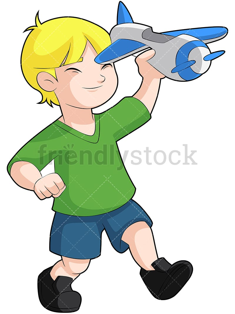 Little Boy Playing With Toy Airplane Cartoon Vector Clipart