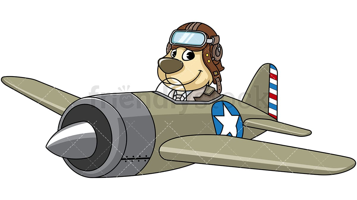 Mascot Dog Flying Airplane Cartoon Vector Clipart Friendlystock