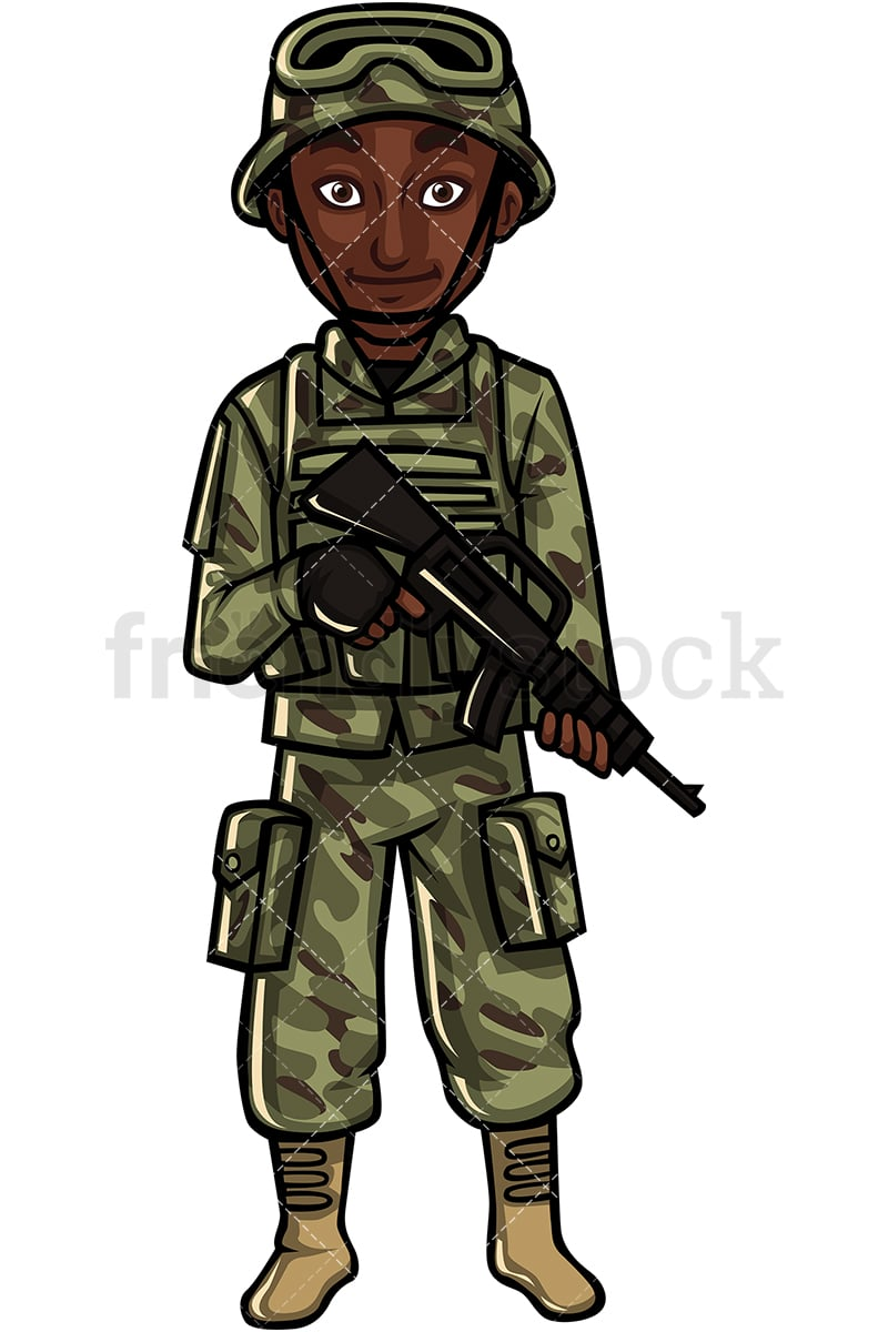 Black Soldier With Assault Rifle